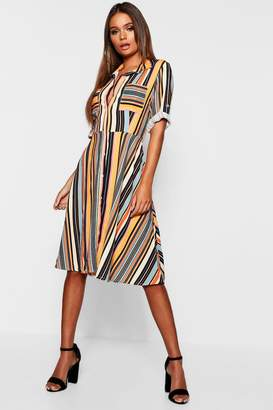 boohoo Multi Stripe Skater Shirt Dress