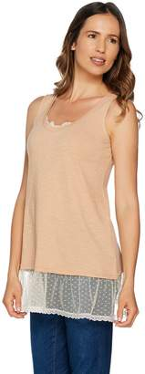 Logo By Lori Goldstein LOGO by Lori Goldstein Slub Tank with Lace Neckline & Swiss Dot Hem