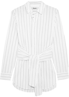 Madewell - Tie-front Pinstriped Cotton Shirt - White $80 thestylecure.com