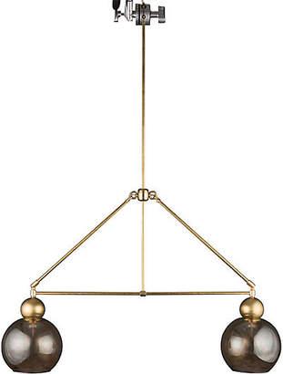 The Light Factory Double-Globe Chandelier - Raw Brass/Smoke