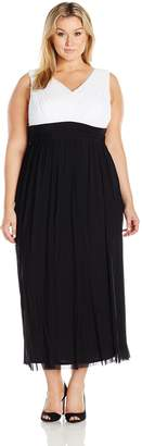 Marina Women's Plus Size Long Mesh Two-Tone Gown, Black/White, 18W