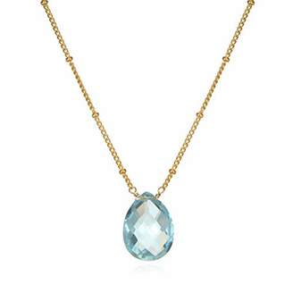 Satya Jewelry Women's Topaz Gold Pear Shape Drop Necklace 18-Inch