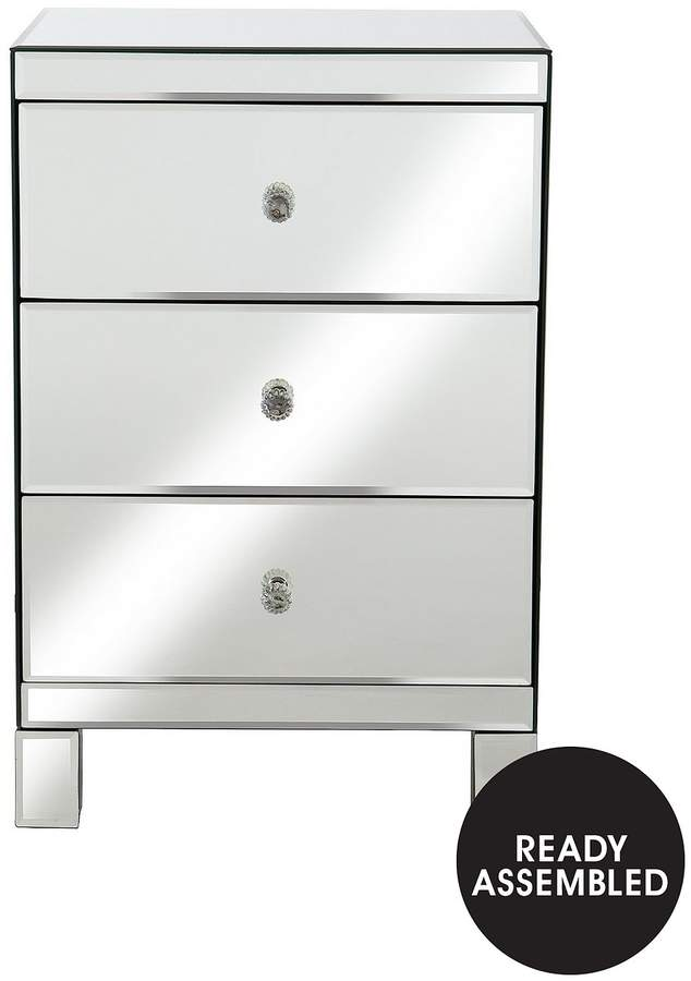 Parisian Mirrored 3 Rawer Ready Assembled Bedside Chest