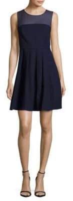 Halston Sheer-Yoke Pleated Dress