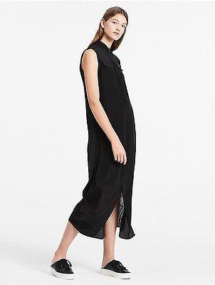 Calvin KleinCalvin Klein Womens Satin Midi Shirt Dress