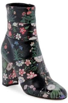 Valentino Floral-Print Leather Boots