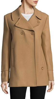 Love Moschino Women's Wide Collar Wool Coat