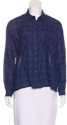 Joe's Jeans Plaid Print Button-Up Top