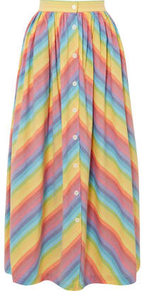 MDS Stripes - Striped Cotton-poplin Midi Skirt - Yellow