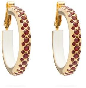 Marni Crystal Embellished Hoop Earrings - Womens - Red