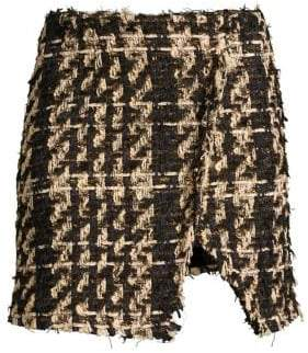 Faith Connexion Tweed Raw Edge Mini Skirt