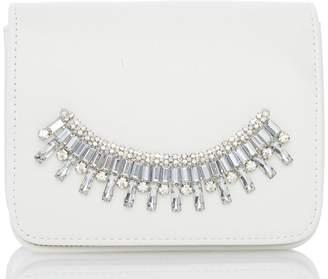 Quiz White Jewel Trim Bag