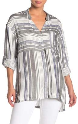 On The Road Aurora Stripe Woven Tunic Shirt