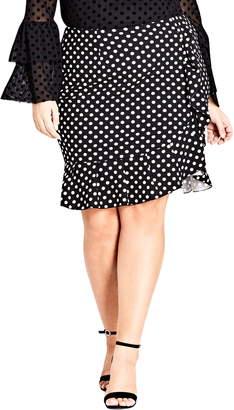 City Chic Spot Frill Skirt
