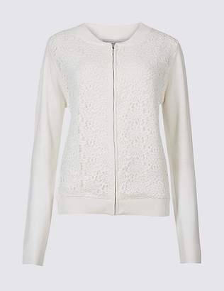 Marks and Spencer Pure Cotton Lace Long Sleeve Jumper
