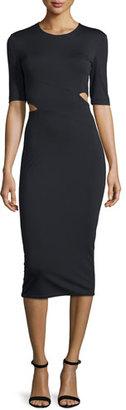 T by Alexander Wang Lux Ponte Side-Slit Midi Dress, Black $375 thestylecure.com