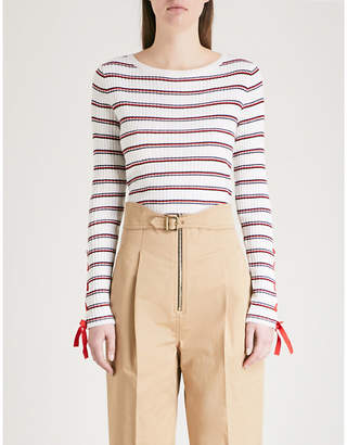 Sandro Lace-up detail striped ribbed-knit jumper