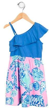 Lilly Pulitzer Girls' Printed One-Shoulder Dress