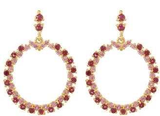 Ruta Reifen Pink Sapphire and Rhodolite Show Love Hoop Earrings - Yellow Gold