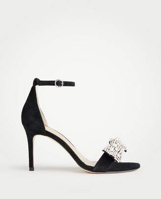 Ann Taylor Reagan Pearlized Crystal Bow Suede Sandals