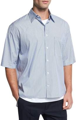 Vince Boxy-Fit Pleated Short-Sleeve Shirt, Navy