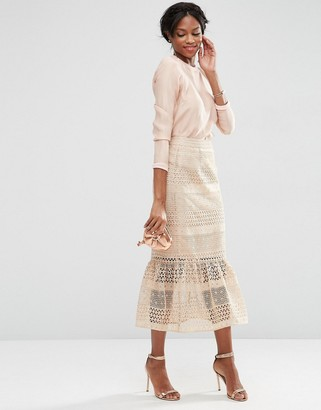 ASOS Geo Lace Midi Pencil Skirt with Pep Hem $91 thestylecure.com