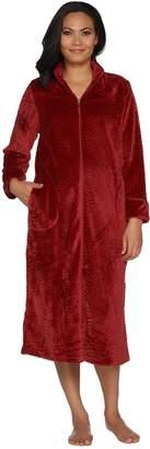 Stan Herman Silky Plush Trimmed Wave Long Zip Robe