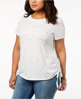 INC International Concepts I.N.C. Plus Size Cotton Faux-Pearl Studded T-Shirt, Created for Macy's