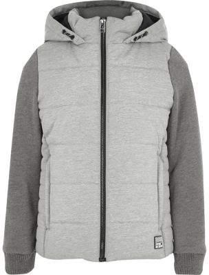 River Island Boys grey puffer jersey sleeve hooded jacket