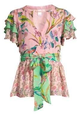 Banjanan Jaya Contrast Floral& Avian Print Tie Short-Sleeve Silk Blouse