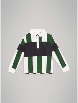 Burberry Long-sleeve Striped Cotton Polo Shirt