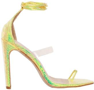 735583a1fdb3 Missy Empire Missyempire Lenni Yellow Snake Print Lace Up Heels