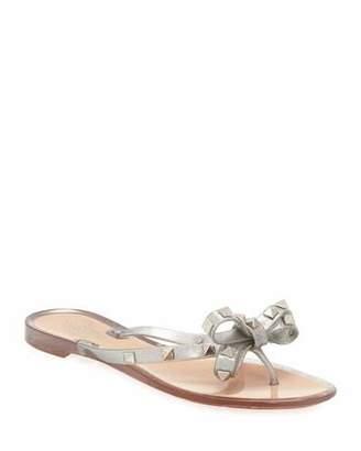 Valentino Rockstud Metallic Jelly Flat Thong Sandal