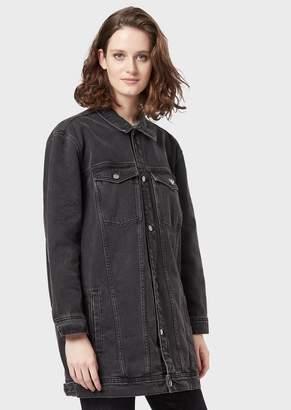 Emporio Armani Denim Maxi Jacket With Bright Leotigre Embroidery