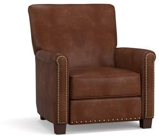 Pottery Barn Irving Roll Arm Leather Power Recliner with Nailheads