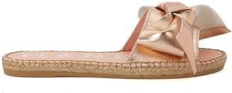 Manebi Versailles Pink Metal Leather And Jute Slippers
