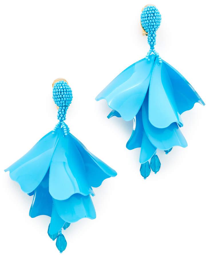 Impatiens Flower Drop Clip On Earrings