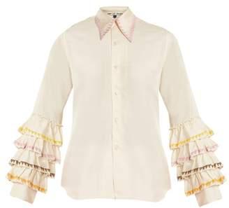 Jupe By Jackie Wurlali Ruffle Sleeved Silk Shirt - Womens - Cream Multi