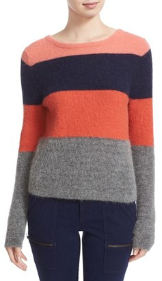 Women's Equipment Calais Stripe V-Back Sweater $268 thestylecure.com