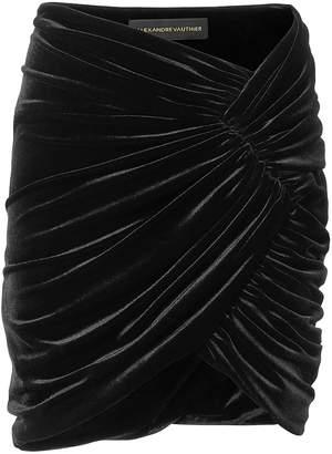 Alexandre Vauthier Ruched Velvet Mini Skirt