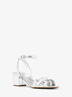 Michael Kors Bella Ruffled Metallic Leather Sandal
