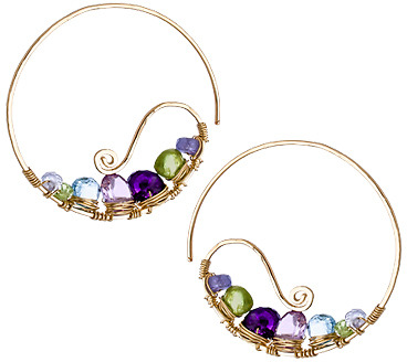 Calico Juno Multi Gemstone Hoop Earring