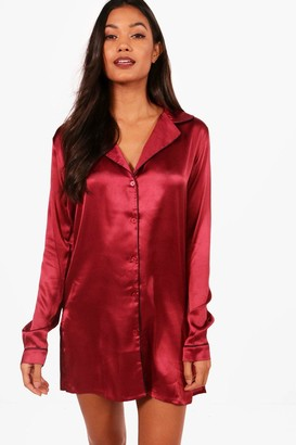 boohoo Satin Button Through Night Shirt