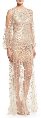 Jenny Packham Sequined-Petal Illusion Tulle Gown, White/Gold $5,040 thestylecure.com