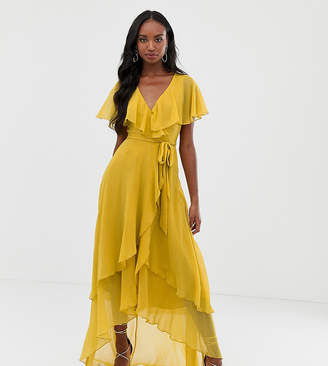Asos Tall DESIGN Tall maxi dress with cape back and dipped hem
