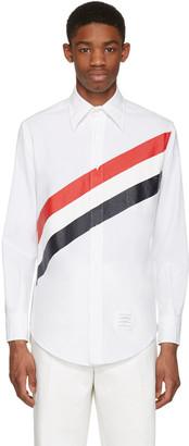 Thom Browne White Diagonal Stripe Classic Shirt $490 thestylecure.com