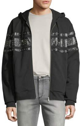 Just Cavalli Men's Grommet-Detail Zip-Front Hoodie Sweatshirt