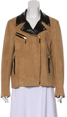 Gucci Leather-Trimmed Suede Jacket