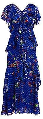 Tanya Taylor Women's Janelle Printed Tiered Stretch-Silk Maxi Dress - Size 0