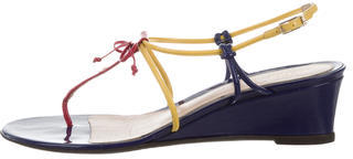Fendi Fendi Patent Leather Wedge Sandals